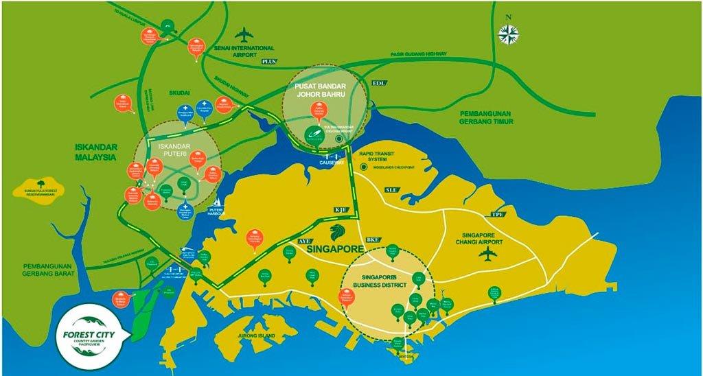 Vị trí dự án Forest City Malaysia nằm ở đâu?