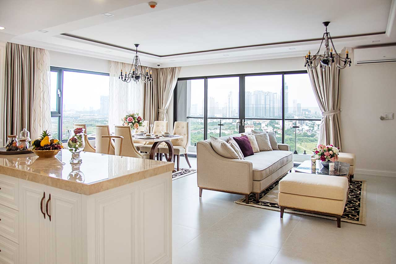 Phòng khách căn hộ mẫu New City Thủ Thiêm