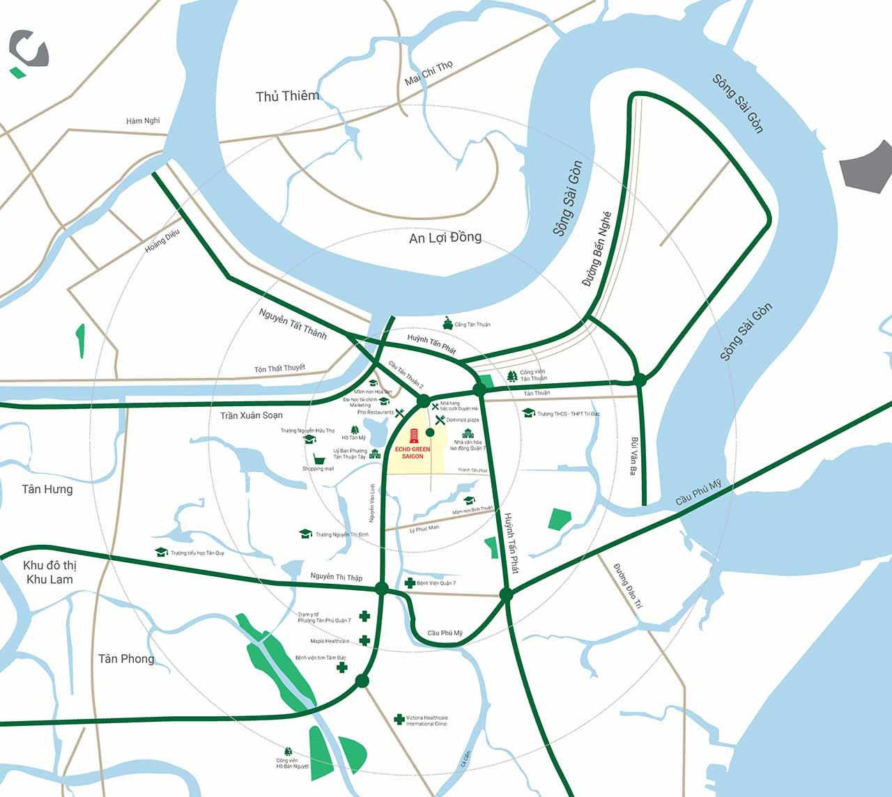 Sơ đồ vị trí dự án Eco Green Sài Gòn