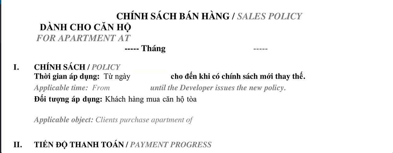 Chính sách bán hàng của dự án Vincity Quận 9