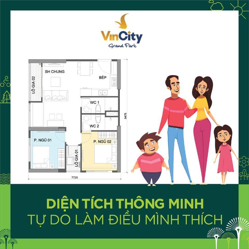 Thiết kế căn hộ 2 phòng ngủ Vincity Quận 9