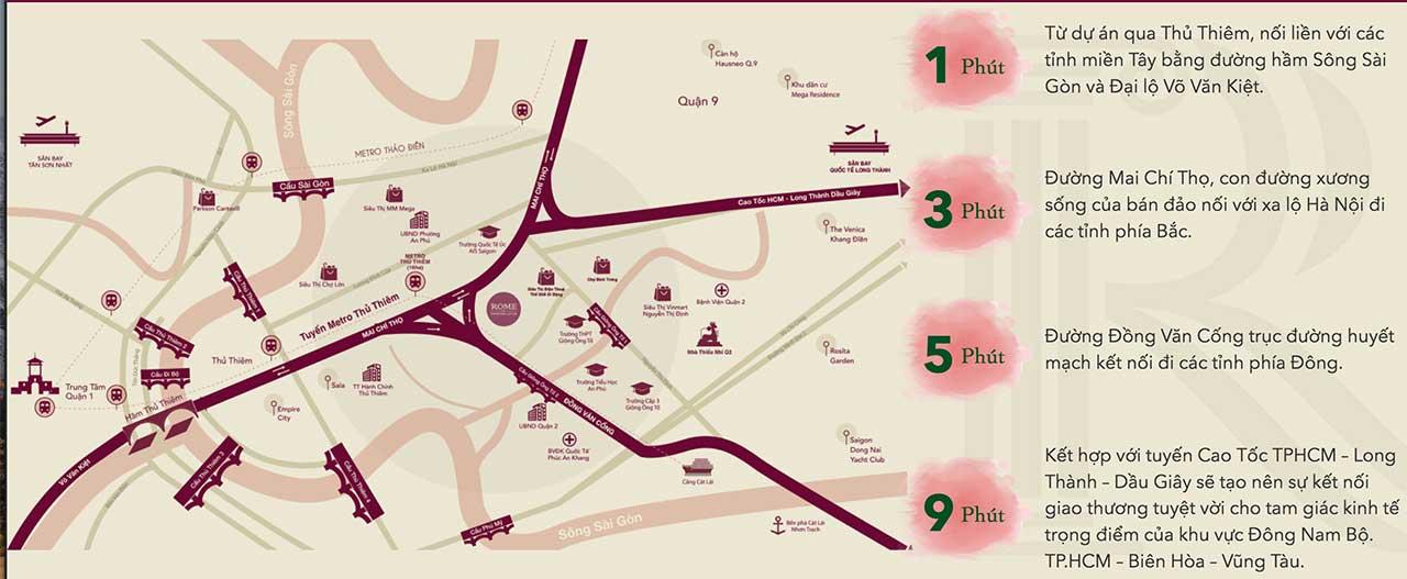 Vị trí của Rome Diamond Lotus nằm trên mặt tiền Mai Chí Thọ Quận 2