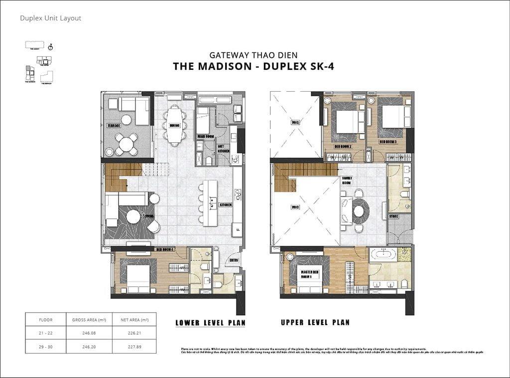 Mặt bằng căn hộ Duplex Gateway Thảo Điền mới nhất