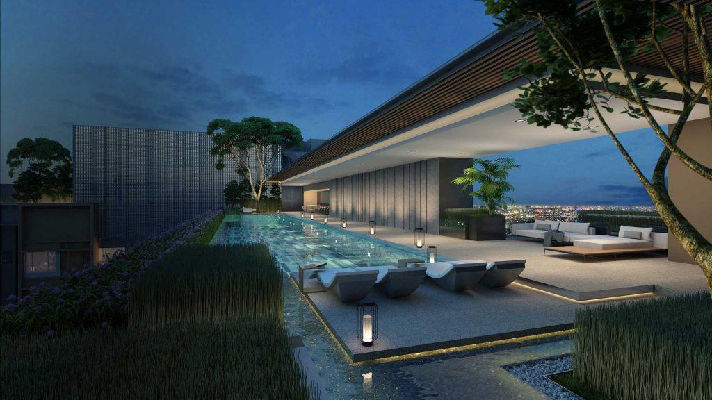 Hồ bơi trên tầng thượng toà căn hộ The Marq