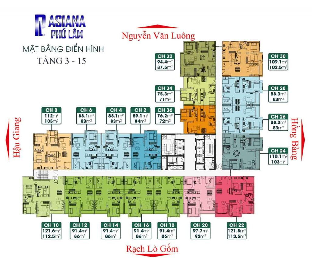 Mặt bằng căn hộ Asiana Phú Lâm
