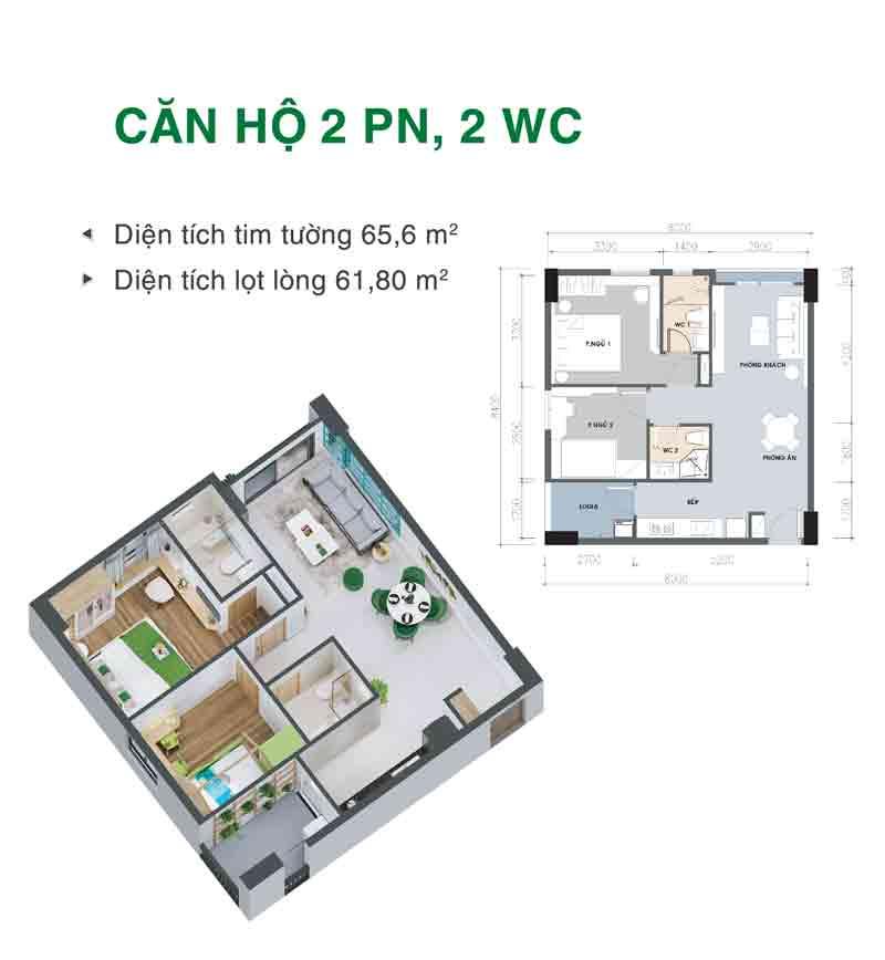 Mặt bằng căn hộ 2 phòng ngủ 2 WC