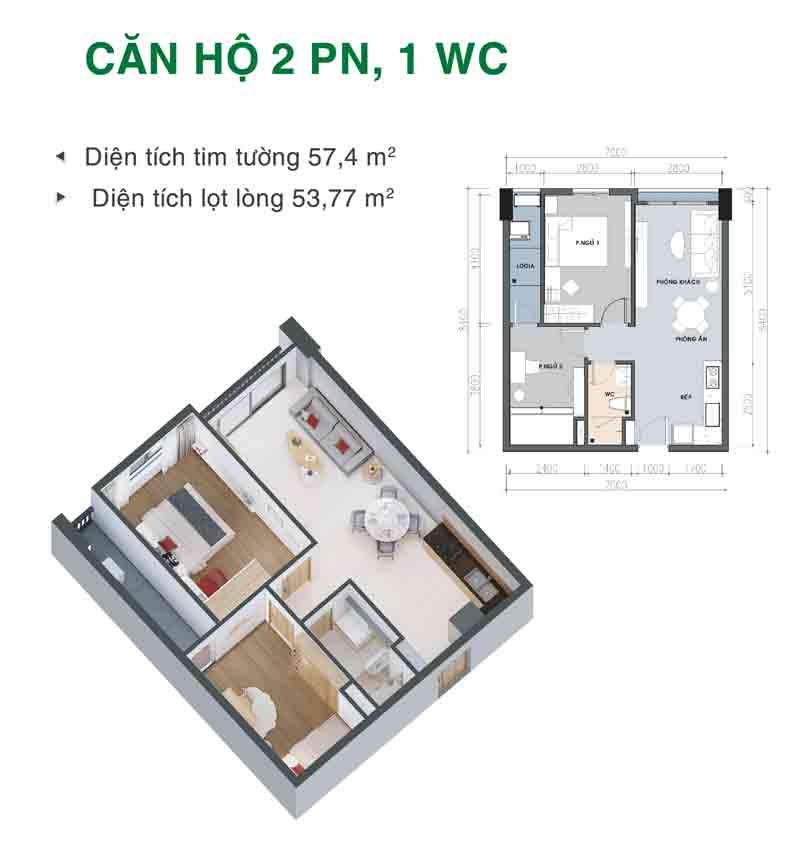 Mặt bằng căn hộ 2 phòng ngủ 1 WC