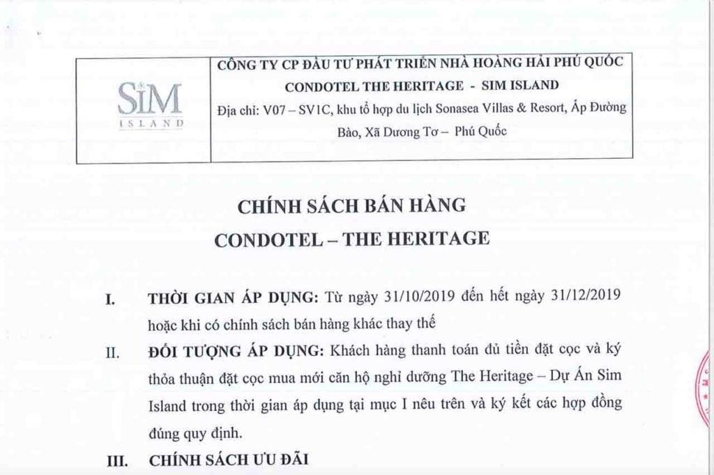 Chính sách bán hàng Condotel The Heritage