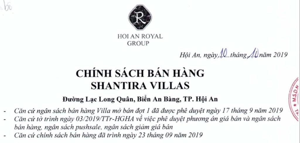 Chính sách bán hàng Shantira Villas Tháng 10-2019