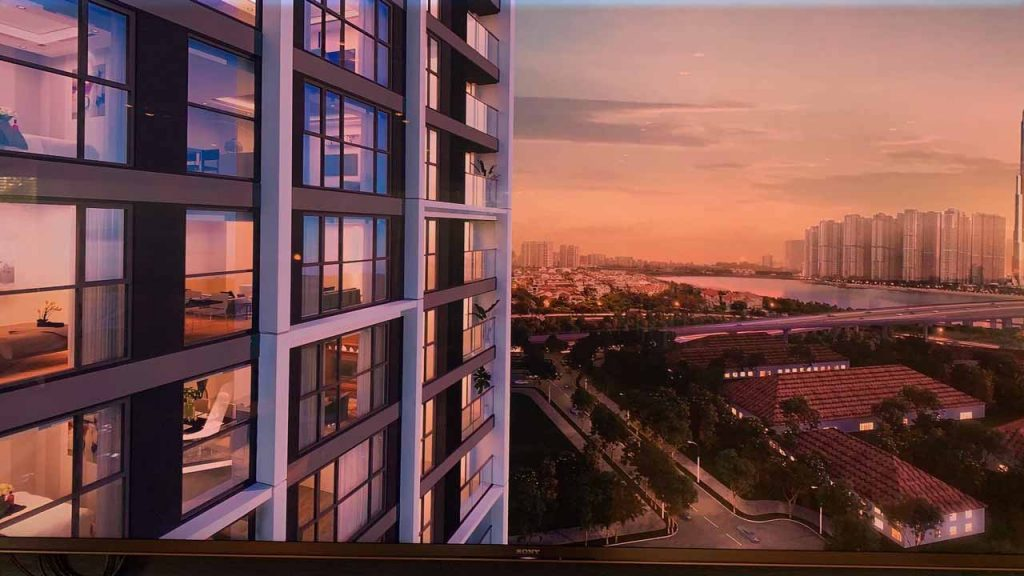 Dự án căn hộ Mozac Thảo Điền hướng nhìn cầu Sài Gòn và tòa nhà Landmark 81 tầng
