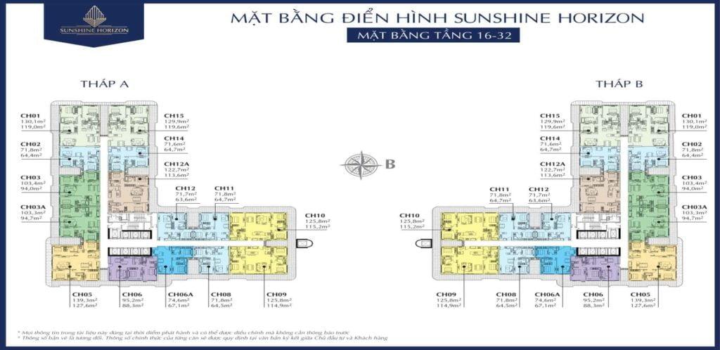 Mặt bằng điển hình sunshine horizon tầng 16-32
