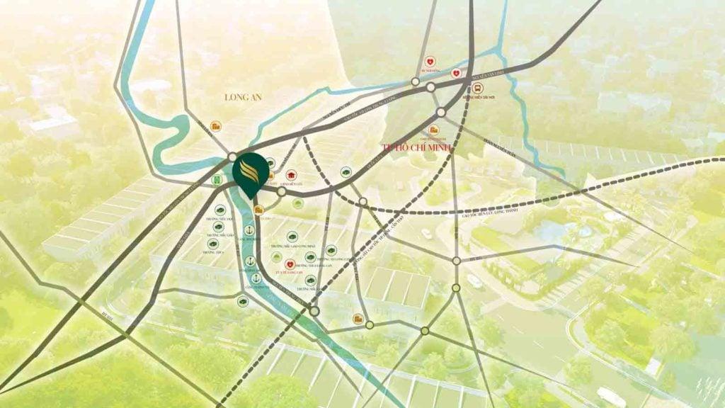 Vị trí dự án ở thị trấn Bến Lức - tỉnh Long An