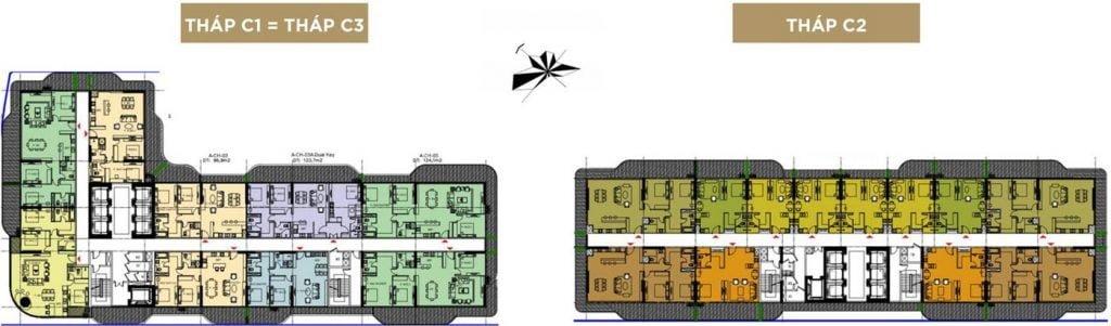 Mặt bằng căn hộ các tầng 10-12 và 14-17