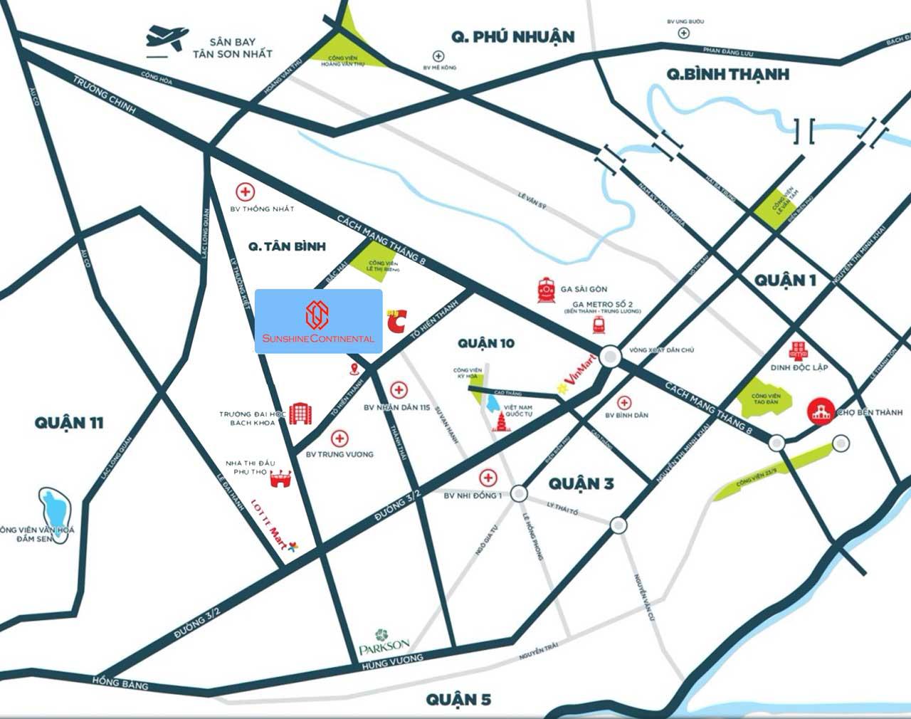 Vị trí dự án Sunshine Continental nằm ở góc ngã tư đường Thành Thái và Tô Hiến Thành Quận 10