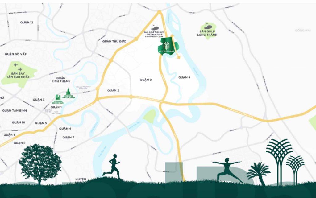 Bản đồ chỉ vị trí của dự án Masterise Quận 9
