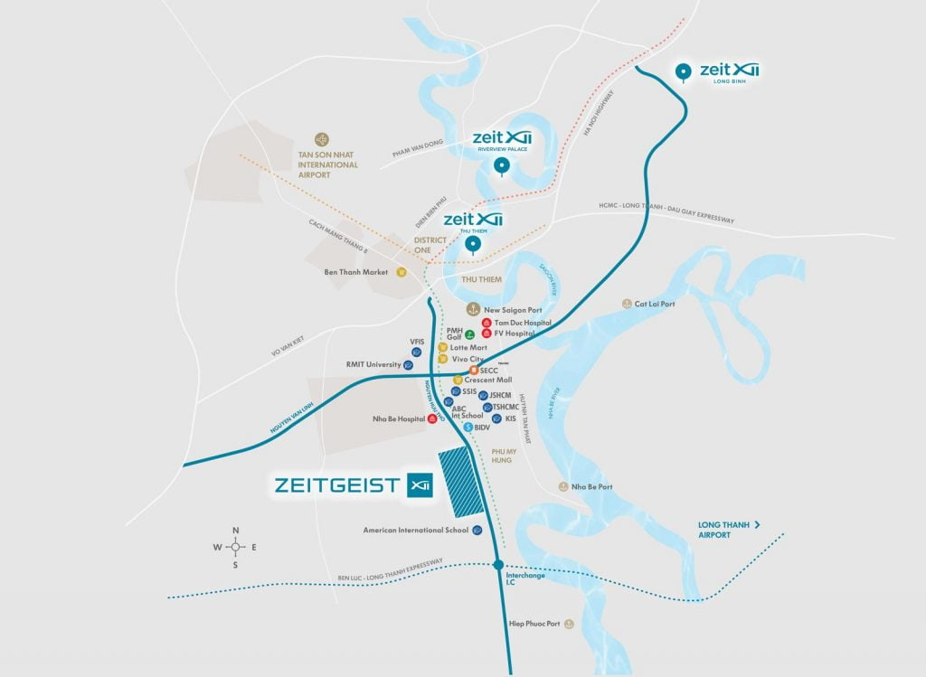 Bản đồ vị trí các dự án do GS E&C đầu tư xây dựng tại thành phố Hồ Chí Minh