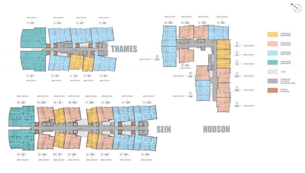 Mặt bằng căn hộ mới nhất của dự án The River Thủ Thiêm do DP Architect thiết kế