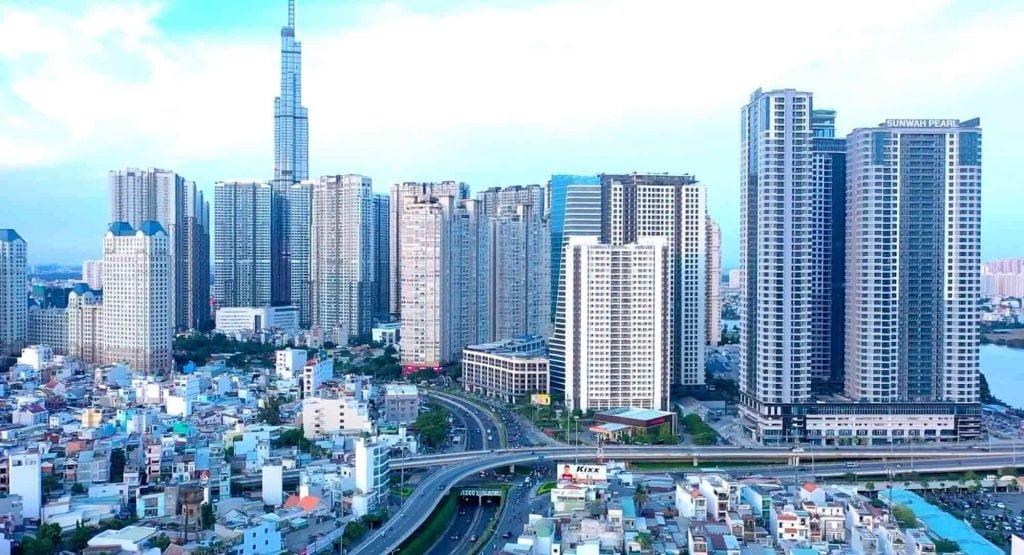 Khu phức hợp Saigon Pearl nằm trên đường Nguyễn Hữu Cảnh, Q. Bình Thạnh