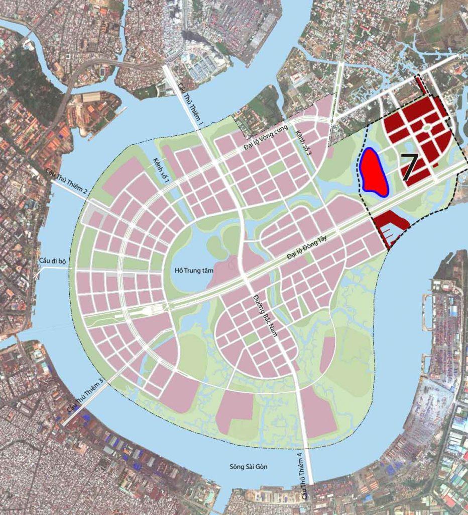 Vị trí dự án nằm trong khu chức năng số 7 ở Thủ Thiêm.