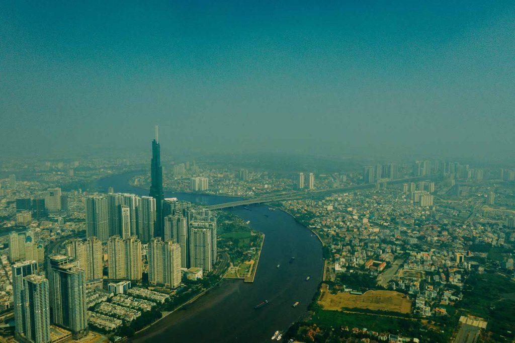 Hình phối cảnh khu phức hợp Sài Gòn Pearl nằm ven sông Sài Gòn