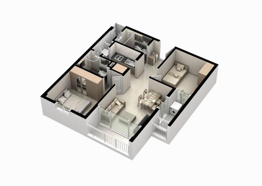 Mặt bằng căn hộ Thủ Thiêm Midtown 2 phòng ngủ 60m2