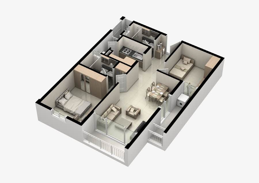Mặt bằng căn hộ Thủ Thiêm Midtown 2 phòng ngủ 75m2