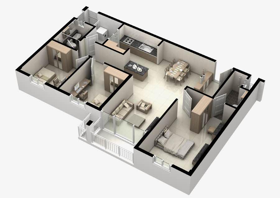 Mặt bằng căn hộ Thủ Thiêm Midtown 3 phòng ngủ 100m2