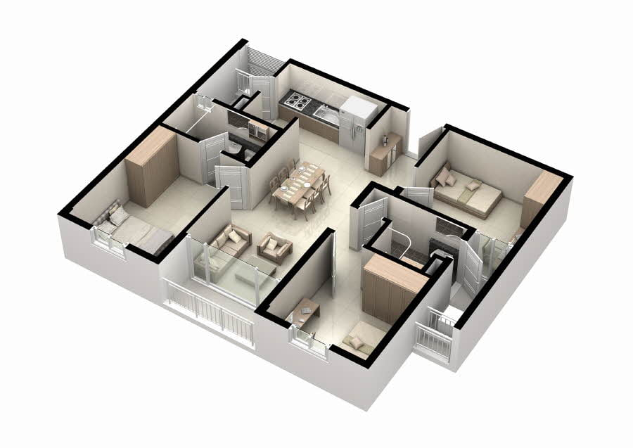 Mặt bằng căn hộ Thủ Thiêm Midtown 3 phòng ngủ 85m2
