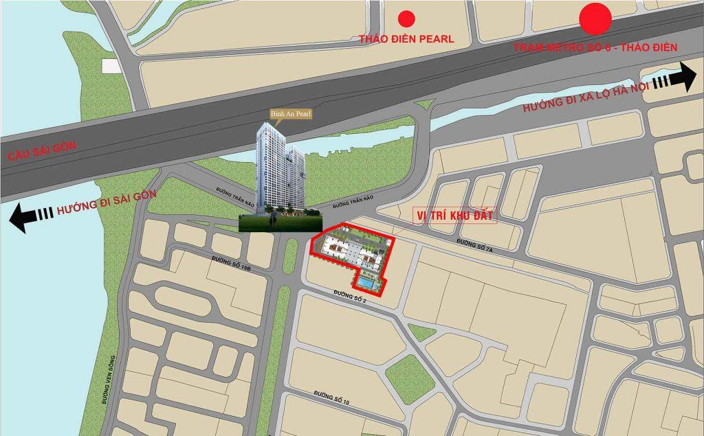 Địa chỉ dự án Bình An Pearl tọa lạc tại Số 2 Đường Trần Não, Phường Bình An, Quận 2, Tp.Hồ Chí Minh