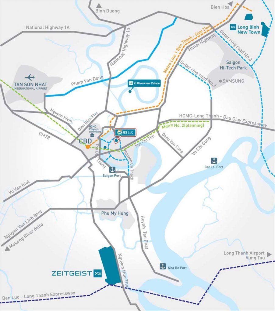 Bản đồ vị trí dự án Thủ Thiêm Zeit và các dự án khác của tập đoàn GS E&C