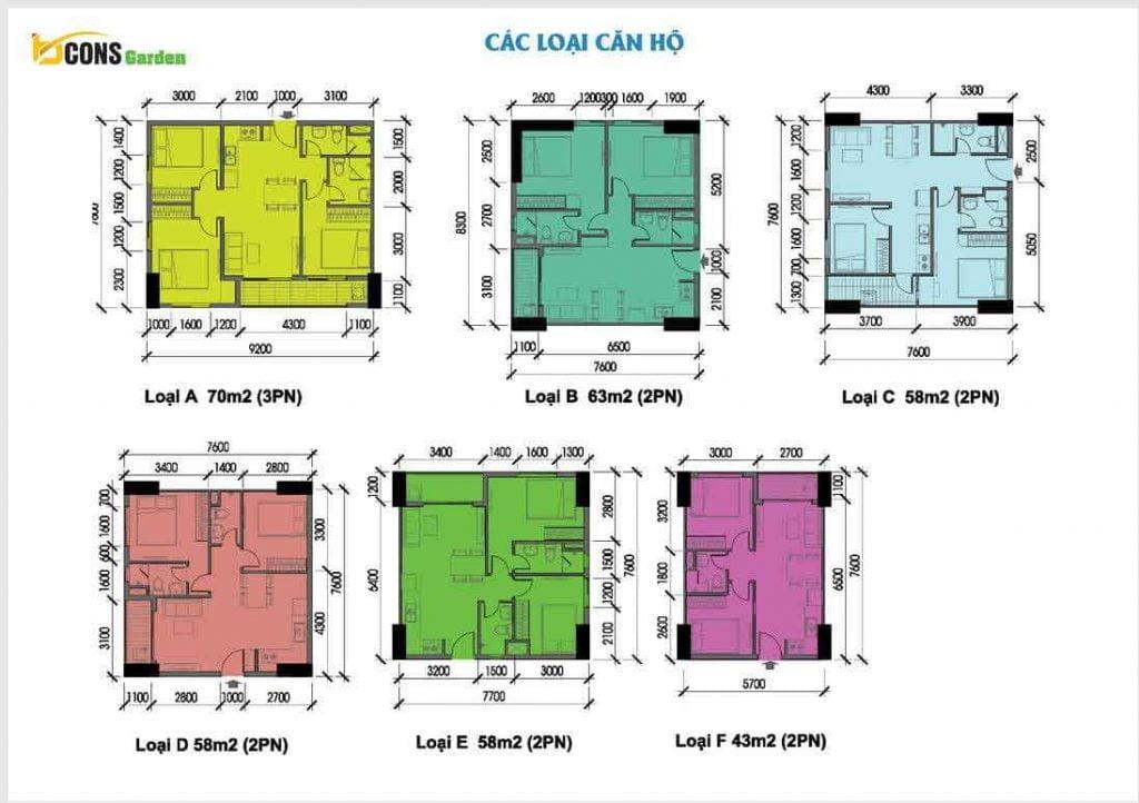 Các loại diện tích căn hộ Bcons Garden 1 2 3 phòng ngủ