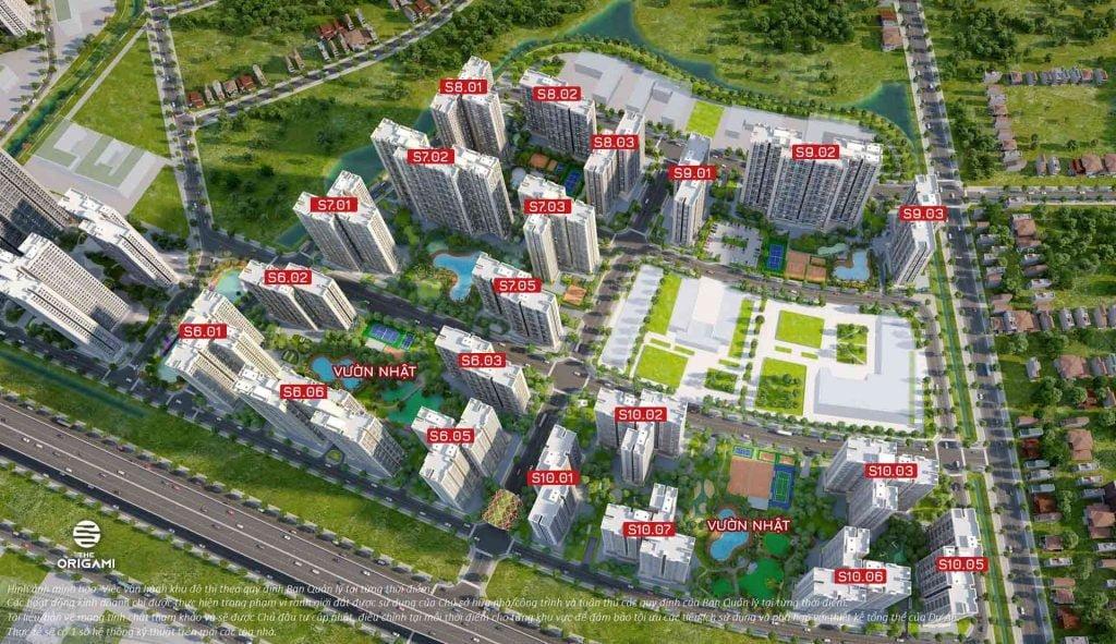 Hình phối cảnh 5 phân khu căn hộ The Origami Quận 9