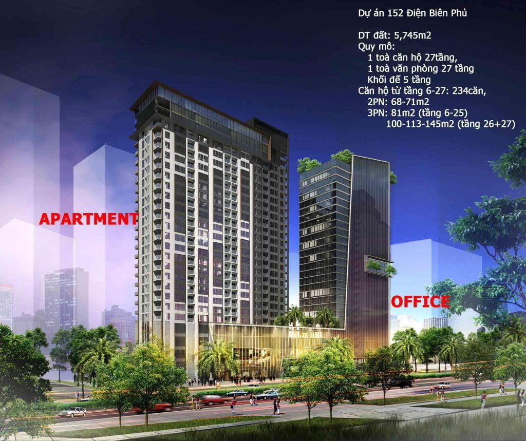 Hình phối cảnh dự án căn hộ 152 Điện Biên Phủ