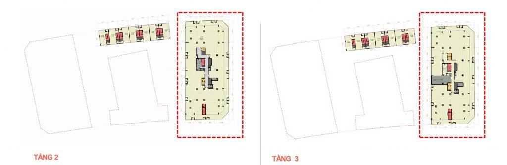 Mặt bằng tầng 2 và 3 khu văn phòng The Crest