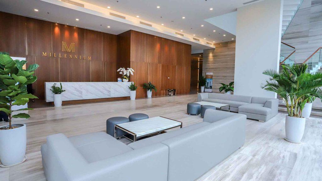 Sảnh tiếp tân dự án căn hộ Millennium Q4