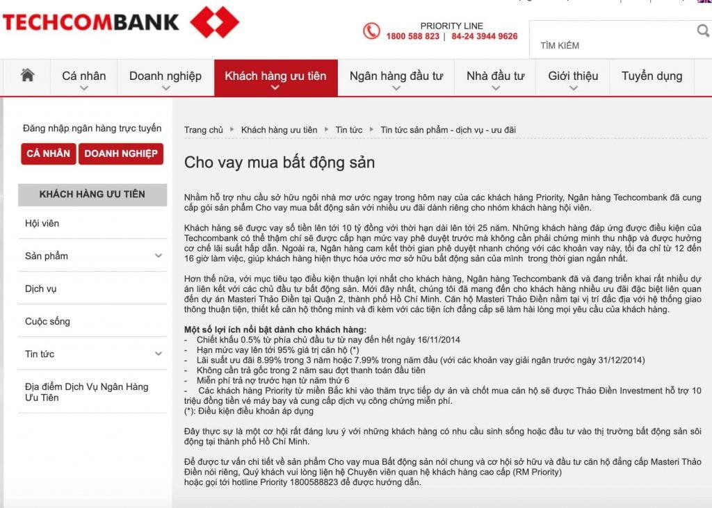 Thông báo chính sách cho vay vốn mua căn hộ Masteri Thảo Điền trên trang chủ ngân hàng Techcombank