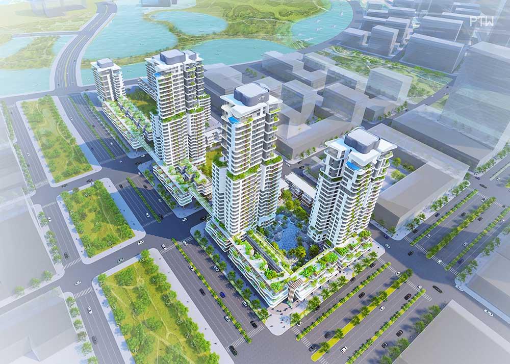 Hình phối cảnh dự án Thủ Thiêm Zeit của tập đoàn GS E&C tại khu đô thị mới Thủ Thiêm Quận 2