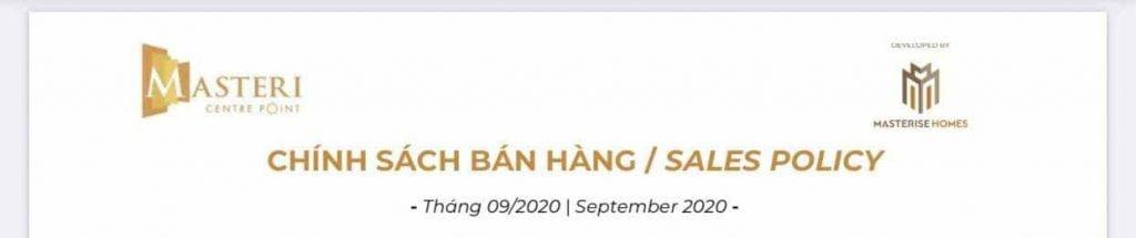 Chính sách bán hàng dự án căn hộ Masteri Centre Point Tháng 9-2020