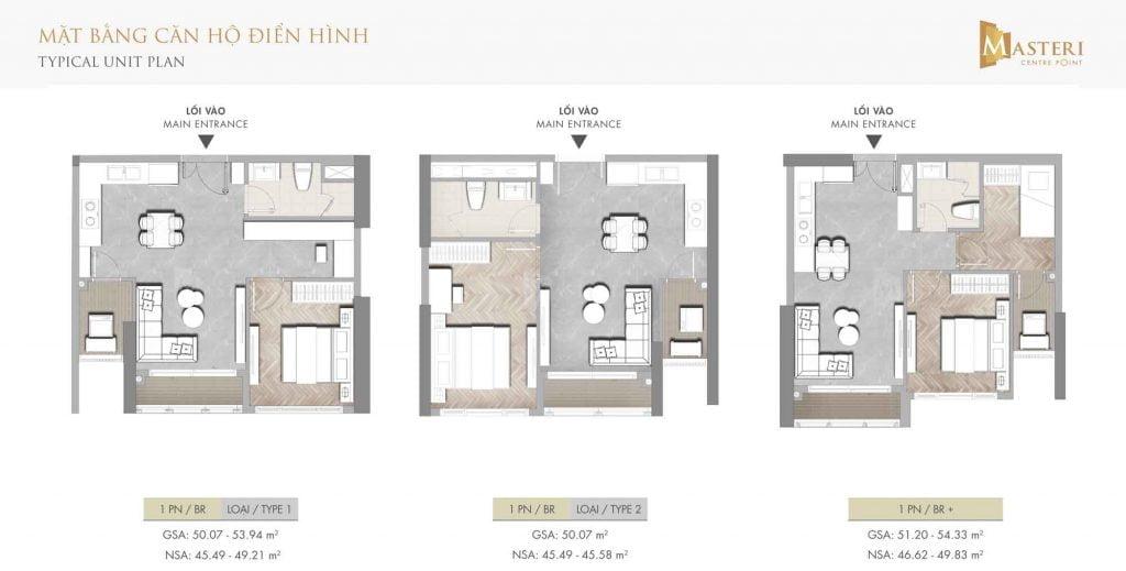 Mặt bằng căn hộ điển hình 1 phòng ngủ