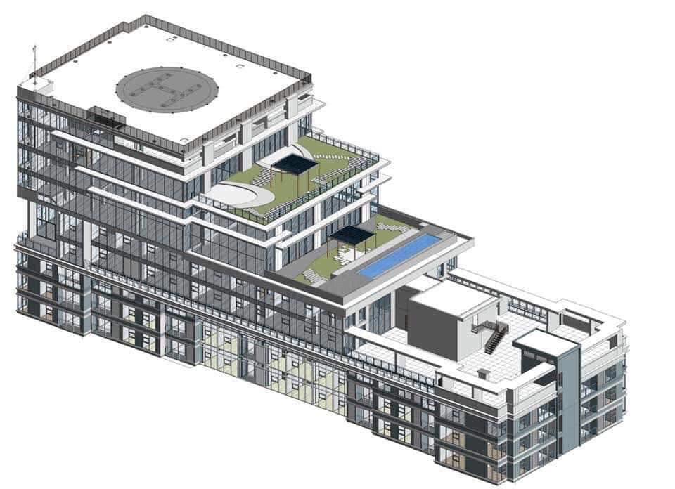Hình 3D Penthouse Sunwah Pearl tầng 46+47 và 1 căn VIP tầng 48+49+50 có chỗ đậu trực thăng máy bay