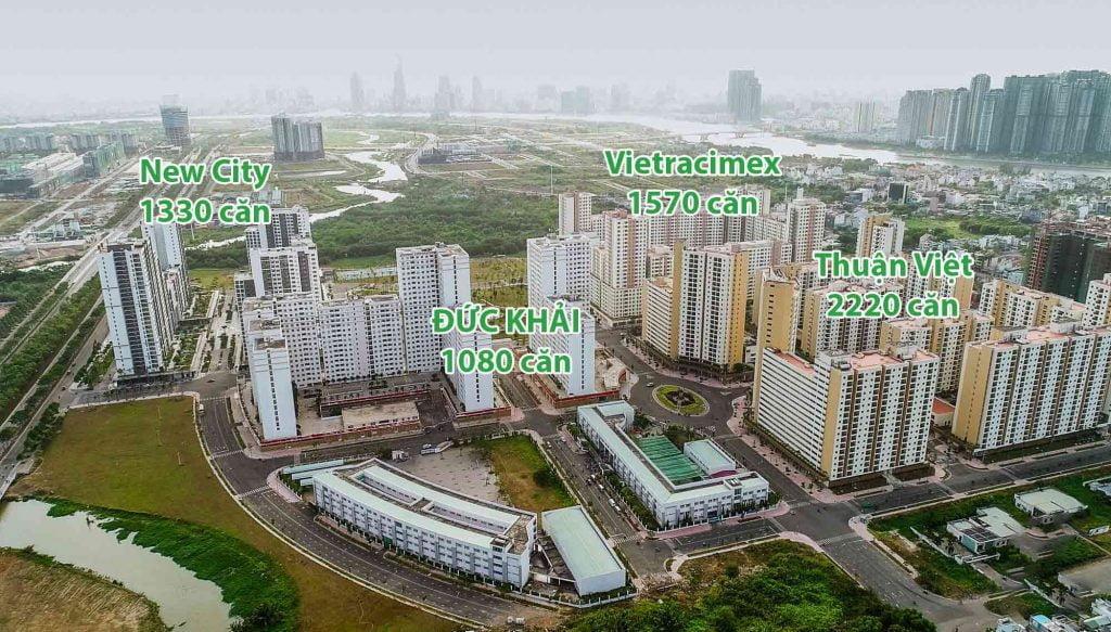 Hình chụp flycam 4 khu căn hộ thuộc dự án 38,4ha phường Bình Khánh Quận 2