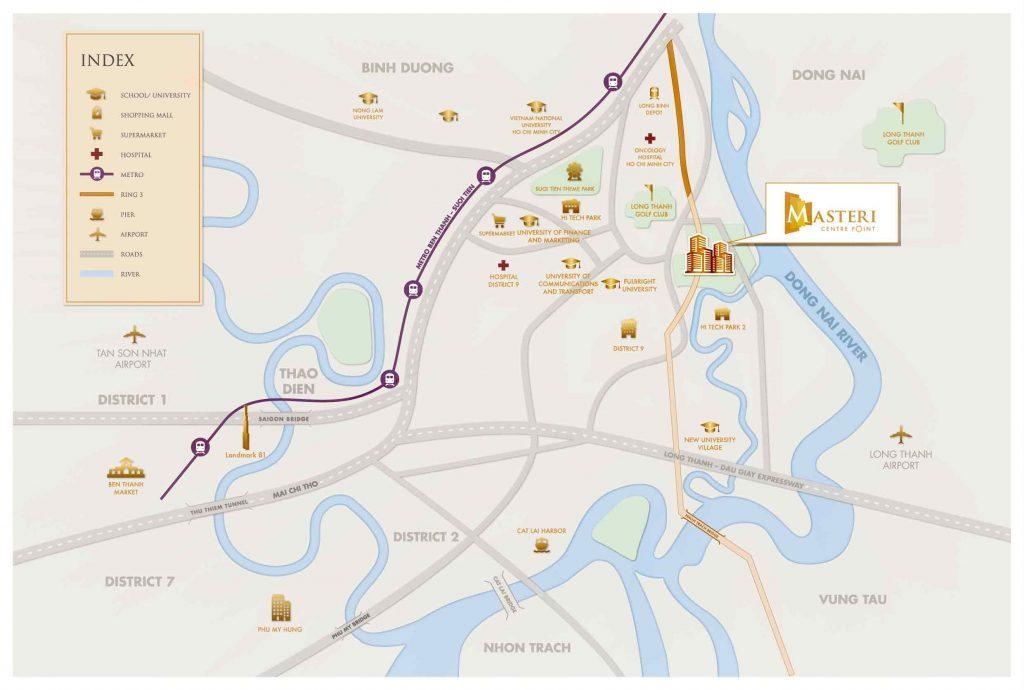 Bản đồ vị trí dự án Masteri Centre Point Quận 9