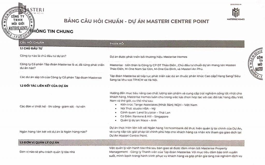 Bộ câu hỏi và trả lời về Văn bản thỏa thuận Masteri Centre Point