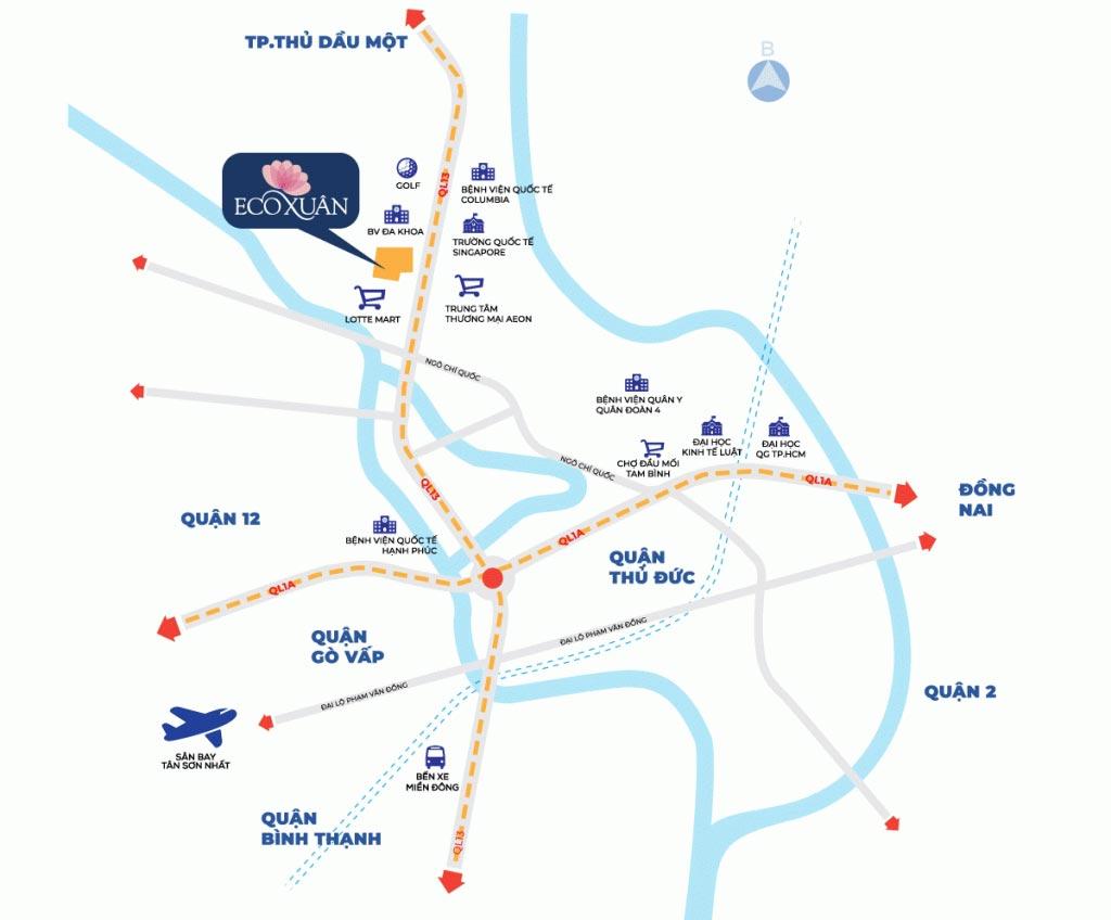 Bản đồ vị trí dự án Ecoxuan
