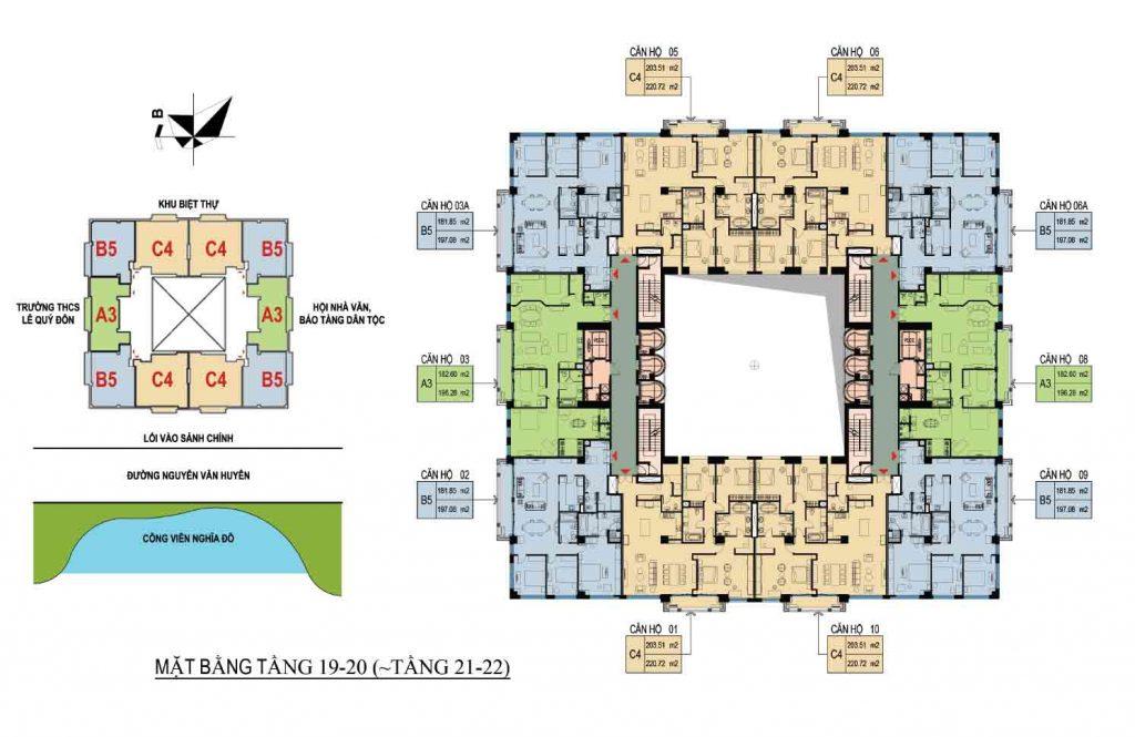 Mặt bằng căn hộ D Palais Louis tầng 19-20