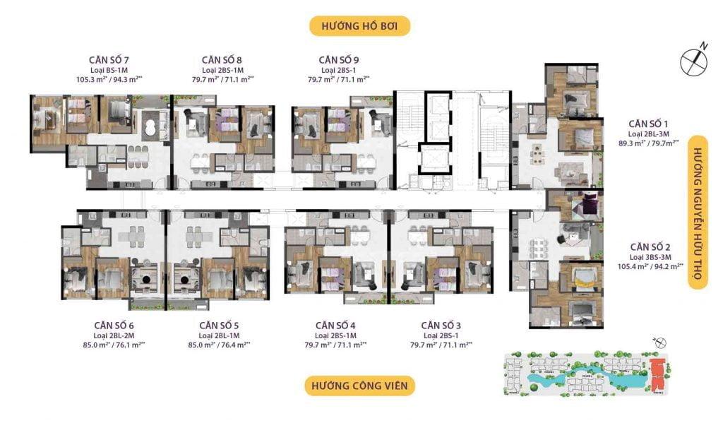 Mặt bằng căn hộ Celesta Rise Tháp 5 (Bàn giao hoàn thiện)