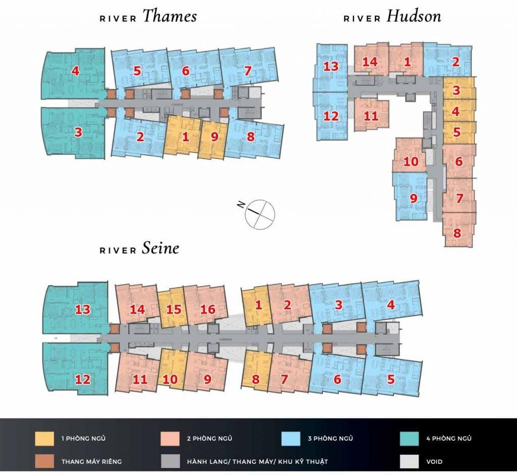 Mặt bằng căn hộ 1 2 3 4 phòng ngủ