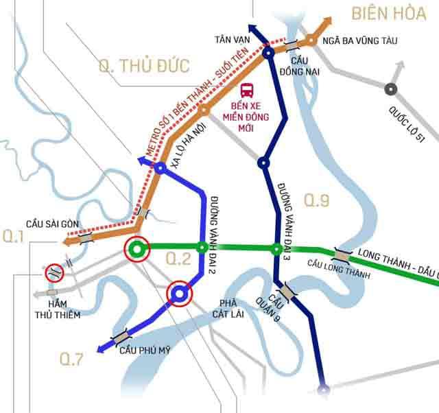 Hình mô phỏng 8 dự án giao thông trọng điểm của thành phố Thủ Đức đang được triển khai