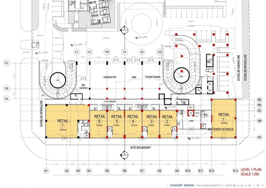 Mặt bằng thiết kế Shophouse Lô 3.1 Thủ Thiêm