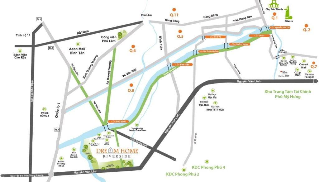 Bản đồ vị trí dự án Dream Home Riverside
